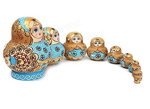 10pcs Wooden Nesting Doll Madness Russian Babushka Matryoshka Doll by Abcstore99