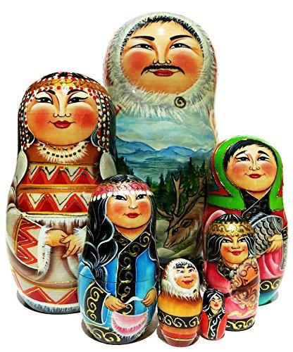 Inuit Family 7 Piece Russian Nesting Doll Ethnic Folk Stacking Babushka