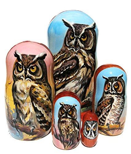 Owls 5-Piece Portrait Russian Babushka - Set 2
