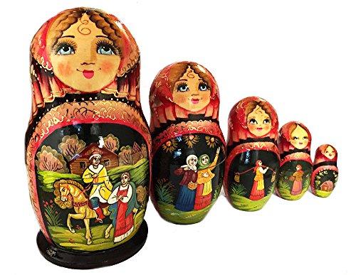 Russian Fairy Tale Matryoshka Babushka Nesting Stacking Wooden Doll Hand Painted 5 Pieces 6 12 Inch
