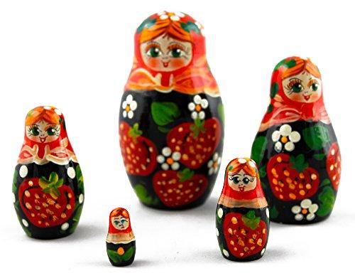 Strawberries Wooden Nesting Russian Babushka Doll Matryoshka Dolls Kids Gift House Decor Home Deco Wooden Toys 5pc