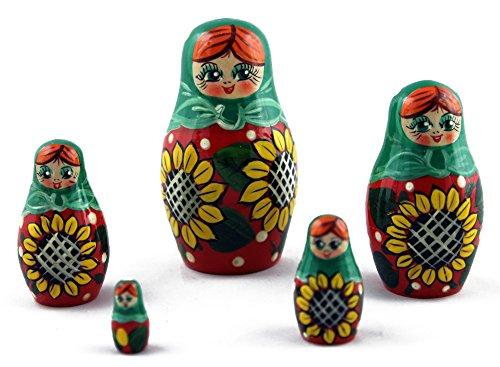 Sunflowers Wooden Nesting Russian Babushka Dolls Matryoshka Presents For Kids Home Accents Interior Decorating 5pc