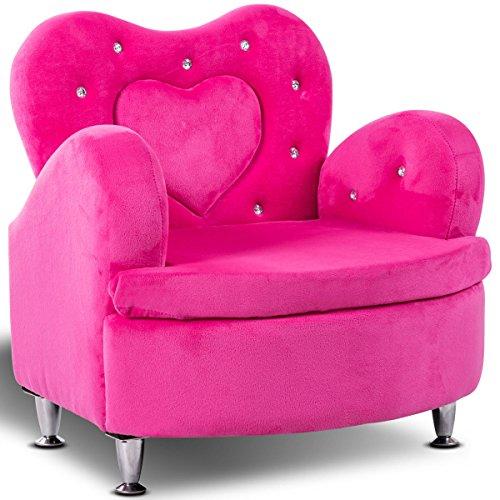 Costzon Kids Sofa Toddler Ultra-Soft Velvet Armrest Chair Couch for Girls Bedroom Living Room Children Furniture Rose