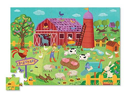 Crocodile Creek Barnyard Banter Double Fun 48 piece Jigsaw Puzzle in Barn Shaped Box