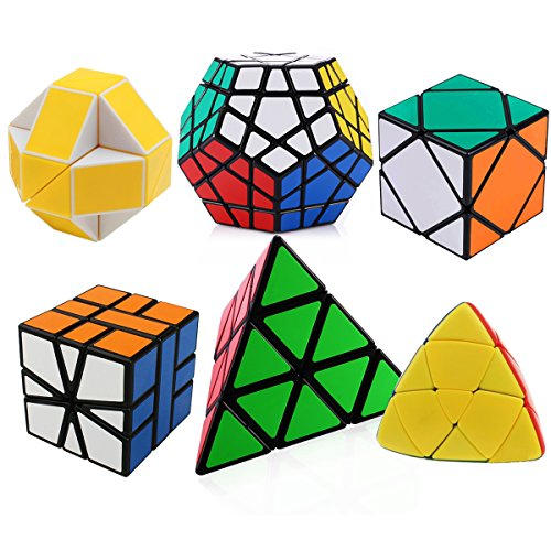 Dreampark Set of 6 Magic Speed Cubes Bundle with Pyraminx Megaminx Oblique Mastermorphix Square-1 SQ1 and Snake Yellow and White Twisty Toy Puzzle