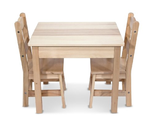 Melissa Doug Solid Wood Table and 2 Chairs Set - Light Finish Furniture for Playroom