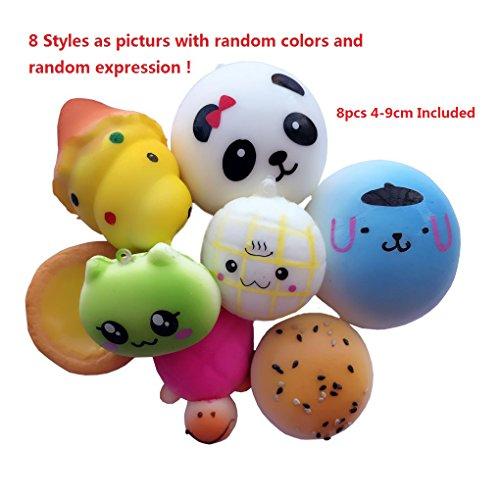 8PCS 4-9CM Squishy Foods Panda Bread Phone Charms Kawaii Slow Rising Toys Bag Pendants