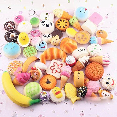 Pursuestar 10Pcs Random Kawaii Mini Soft Squishy Foods Panda Bread Bun Toasts Multi Donuts Phone Straps Charm Kids Toy Gift