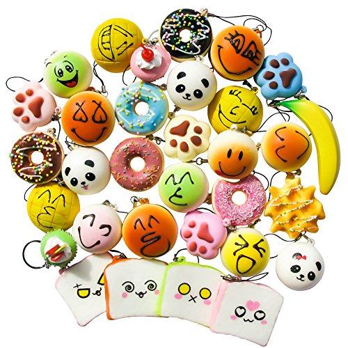 TOAOB Jumbo Medium Super Soft Squishy Toy for Cake Panda Bread Buns Donuts Phone Charm Key Chain Strap 10pcs