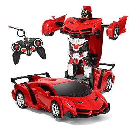 118 Model RC Car Remote Control Car Transforming Robot Transformer Toys Transform Car Robot RC Car One Button Transforms into RobotRC Car Toy Robot for Kids