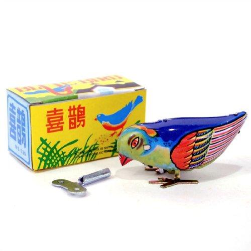 New Vintage Wind-Up Bird Pecking Tin Mechanical Toy