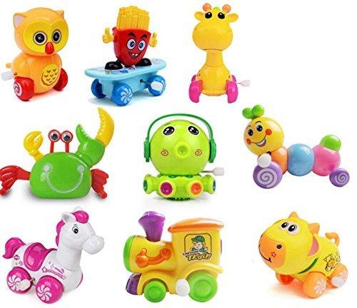 RSHOPSRshops10Pcs Assorted Funny Cartoon Baby Wind-Up Toys Kids educational clockwork Toys Children winding Plastic Safe Non-toxic Classic Retro Vintage Mechanical Toy Random StyleColor