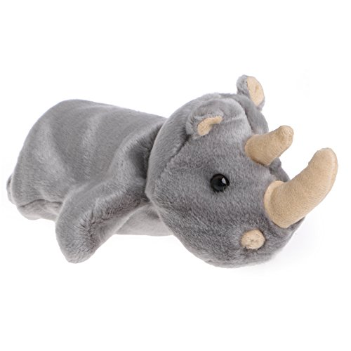 Delight eShop Hand Finger Puppet Toys Plush Rhinoceros Doll Cartoon Animal Gift For Baby Kids Grey