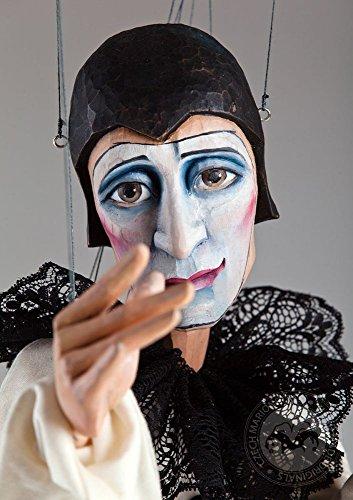 Melancholic Pierrot Marionette - Czech wooden Handmade Puppet