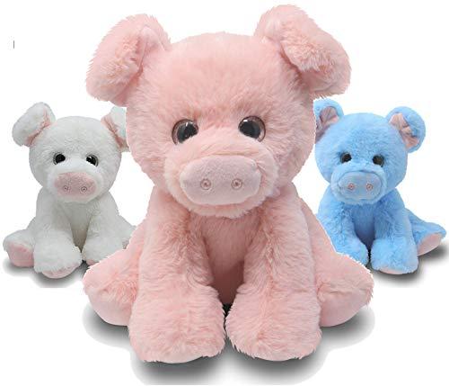 Fluffuns Pig Stuffed Animal - 3-Pack of Stuffed Pig Plush in 3 Colors - 9 Inch Stuffed Animal Pig