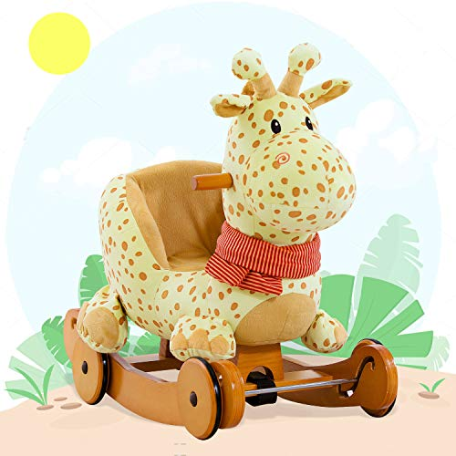 Labebe Child Rocking Horse Plush Fawn Rocking Horse Stuffed 2 in 1 Yellow Giraffe Rocker with Wheel for Kid 6-36 Months Rocking ToyWooden Rocking HorseRockerAnimal RideDeer Rocker for Boy&Girl