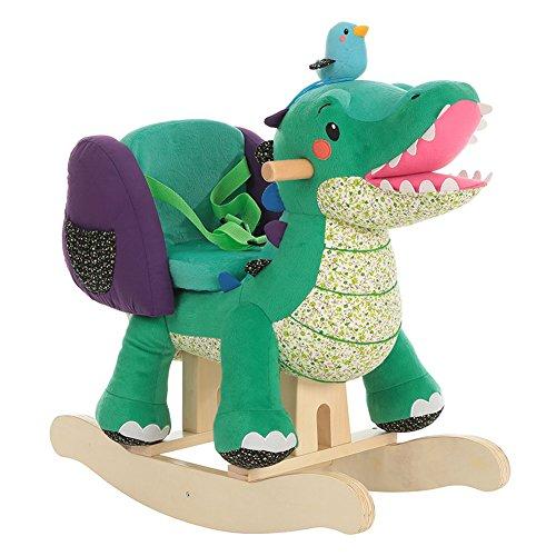 Labebe Child Rocking Horse Toy Stuffed Animal Rocker Green Crocodile Plush Rocker Toy for Kid 1-3 Years Wooden Rocking Horse ChairChild Rocking ToyOutdoor Rocking HorseRockerAnimal Ride on