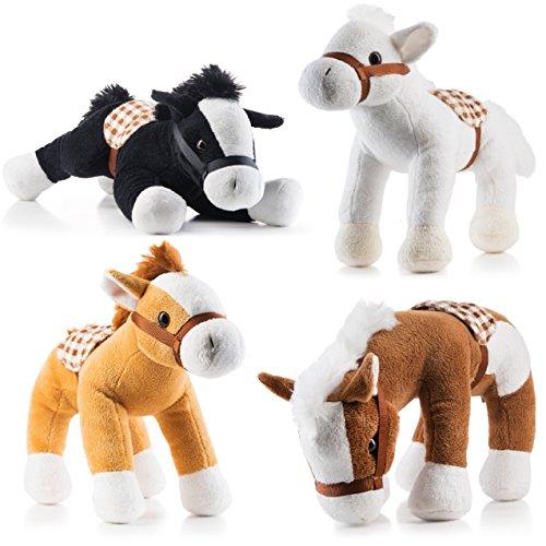Prextex Jumbo 10 Tall Plush Horses Stuffed Animal Horses 4 Pack