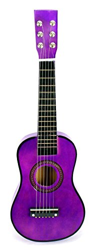 VT Classic Acoustic Beginners Childrens Kids 6 Stringed Toy Guitar Instrument w Guitar Pick Extra Guitar String Purple