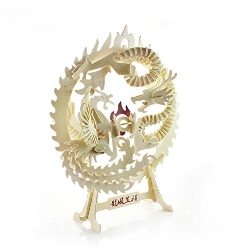 DIY 3D Wooden Puzzle Dragon and Phoenix Cedarwood Handmade Jigsaw Woodcraft Kit Wooden Handcraft Educational Products Wooden Art Intarsia