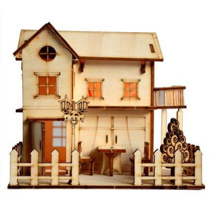Sidiou Group Merry Puzzle 3D Wooden Puzzle DIY Model Wood House with LED Light