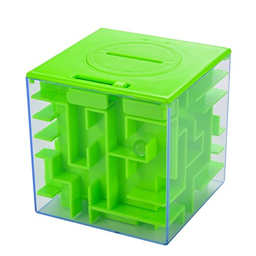 Lanlan 1pcs 3D Cube Money Maze Bank Square Amazing Money Puzzle Box Money Holder ABS Plastic Transparent Outer Brain Teasing Maze For Cash for Kids and Adults Gifts Early Development Toy Green