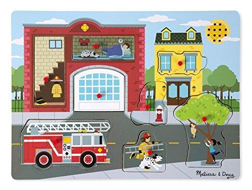 Melissa Doug Around the Fire Station Sound Puzzle - Wooden Peg Puzzle 8 pcs