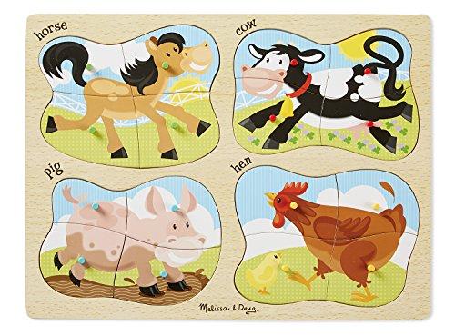 Melissa Doug Farm 4-in-1 Wooden Peg Puzzle - Horse Cow Pig and Hen 16 pcs