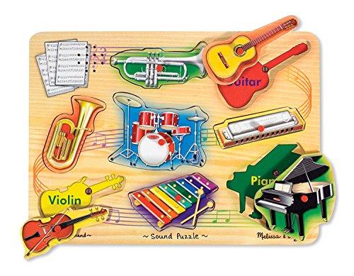 Melissa Doug Musical Instruments Sound Puzzle - Wooden Peg Puzzle 8 pcs