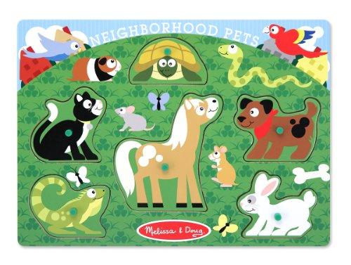 Melissa Doug Neighborhood Pets Wooden Peg Puzzle 6 pcs