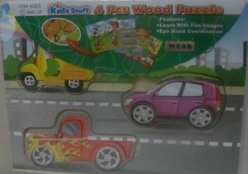 Kids Stuff 4 Pcs Vehicles - 4pc Chunky Wooden Puzzle