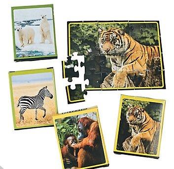 Wildlife Puzzle 24 pc - Set of 4 Tiger Zebra Polar Bear Orangutan