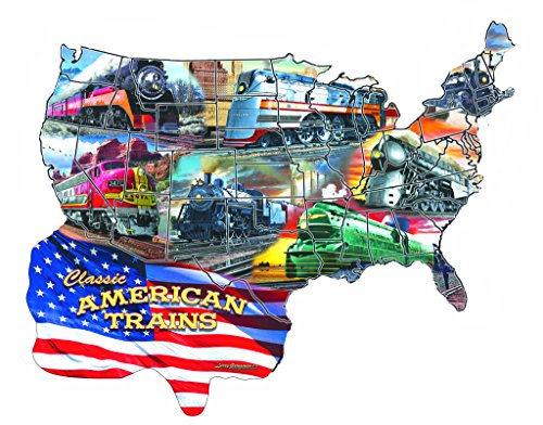Classic American Trains - A 600 Piece Shaped Jigsaw Puzzle By SunsOut