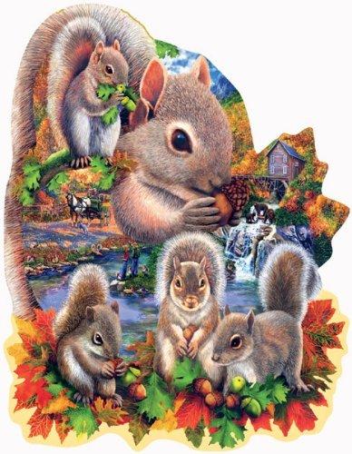 SunsOut Autumn Squirrels Shaped Jigsaw Puzzle 1000-Piece