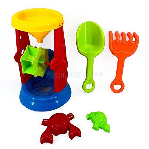 Sangdo Kids Plastic Sand Mill Water Wheel Tower Play Set Beach Garden Sandpit Toy