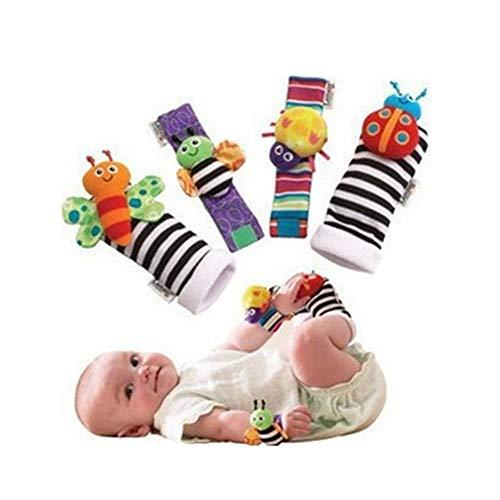 Blppldyci Baby Puzzle Toys Handbell Wrist Belt Toy Newborns Insect Socks 4 Packs