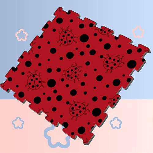 Black Red Dot Ladybug Soft Puzzle Play Mat Foam Tiles Interlocking 8 Pieces 60 X 60 X 12cm Foam Puzzle Tiles