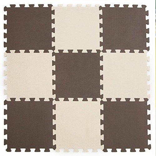 Menu Life 10-tile Beige Coffee Exercise Mat Soft Foam EVA Playmat Kids Safety Play Floor Puzzle Playmat Tiles