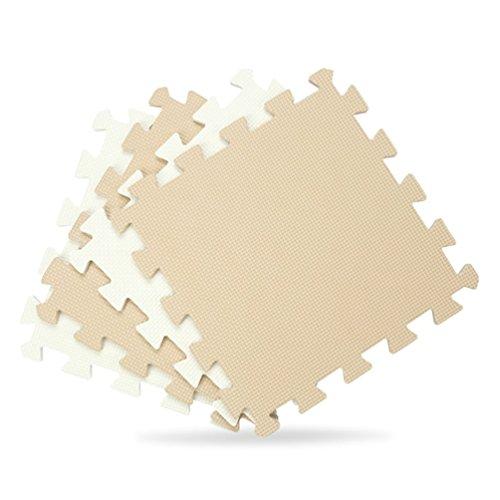 Menu Life 10-tile Beige White Exercise Mat Soft Foam EVA Playmat Kids Safety Play Floor Puzzle Playmat Tiles