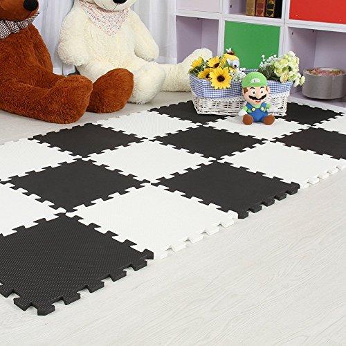 Menu Life 10-tile Black White Exercise Mat Soft Foam EVA Playmat Kids Safety Play Floor Puzzle Playmat Tiles