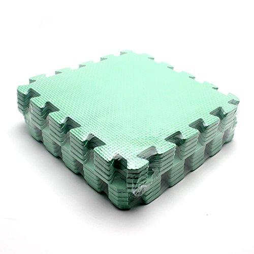 HuaYang Kids Baby Interlock Foam Crawling Mat Seamed Rug Splice Play Floor 10Pcs Puzzle MatGreen