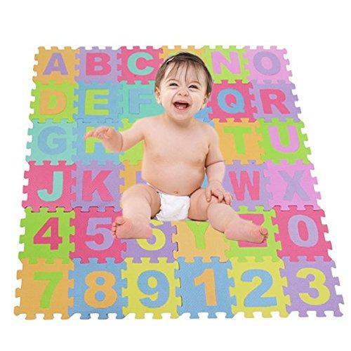 eshion 36 Piece ABC Foam Mat - Alphabet Number Puzzle Play Flooring Mat for Children Kids Toddlers