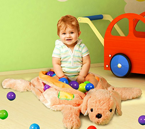 Plush Puppy Ball Pit for Infants Toddlers Includes 50 Soft Play Pit Balls
