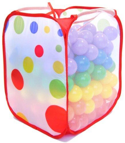 Wonder Playball Non-Toxic Non-Recycled Phlathlate BPA Free Pit Balls for Kids with Polka Dot Hamper 200 Count RedOrangeYellowGreenBluePurple 65 cm