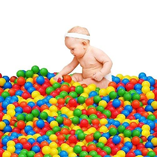 100pcs Ocean Balls Pit Balls Pool Soft Plastic Air-Filled Playballs for Baby Kids Tent Swim Toys Ball