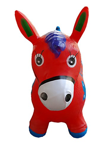 Red Bouncy Horse for Kids L&H Kids Inflatable Horse Hopper Inflatable Space Hopper Jumping Horse Ride-on Bouncy Animal