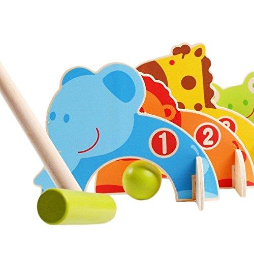 LUCKSTARÂ Animal Pattern Wooden Indoor Outdoor Mini Golf Game Croquet Playset