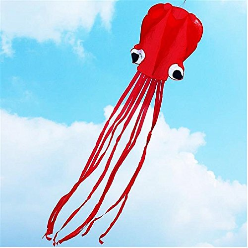 EVINIS Kite-Beautiful Large Easy Flyer Kite for Kids - Nylon Cloth 4m Power Red Octopus Software Kite With Handle And Line