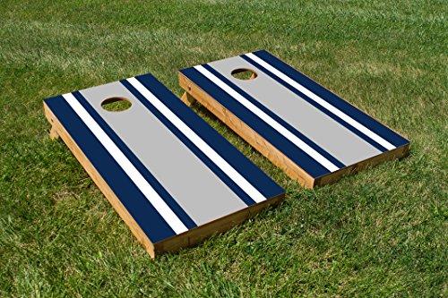 Classic Stripe - Blue White Grey Cornhole Board Set