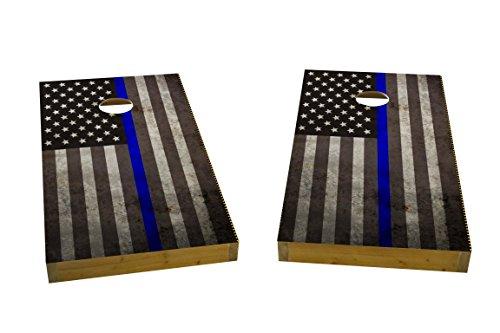 Custom Cornhole Boards American Thin Blue Line Cornhole Boards Light Weight 1x4 Light Weight